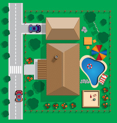 plan a private house with a courtyard vector image