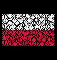 Polish flag pattern of warning items vector