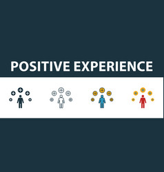 positive experience icon set four elements in vector image