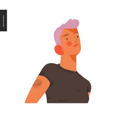 Real people portraits - pink-haired blond woman vector