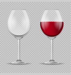 realistic detailed 3d wine glass set vector image
