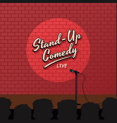 Red brick stand up comedy cartoon theme vector