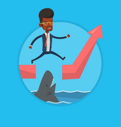 Risky businessman jumping over ocean with shark vector