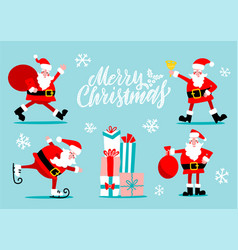 santa claus characters set santa with golden bell vector image