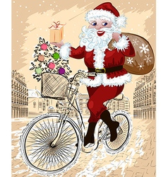 Santa riding a bicyle in a city sketch vector