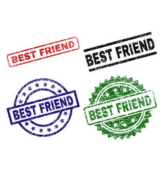 scratched textured best friend seal stamps vector image