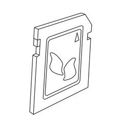 Sd card icon in outline style isolated on white vector