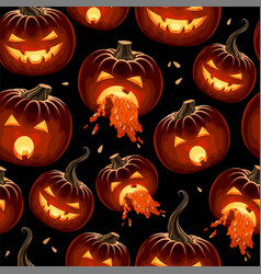Seamless pattern with carved pumpkins with lights vector