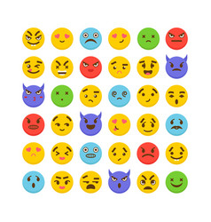 set of emoticons cute emoji icons kawaii flat vector image