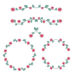 Set of roses frame vector