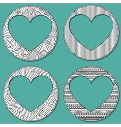 Set of uncolored 4 heart shaped frame in zen art vector image