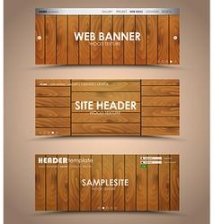 Set of wooden web header vector