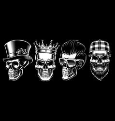 set vintage skulls vector image
