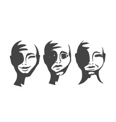Silhouettes of people s faces vector