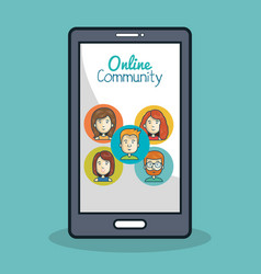 Smartphone online community icon face vector