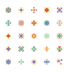 Snowflakes Colored Icons 2 vector image