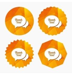 Speech bubble thank you icon Customer service vector