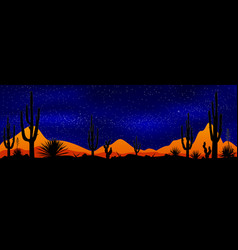 Starry night over the mexican desert vector
