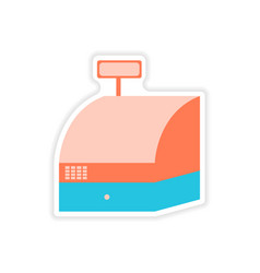 Stylish sticker on paper cash register shopping vector