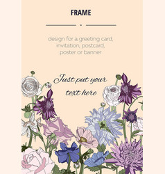 summer vintage bouquet rustic flowers template vector image