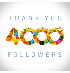 thank you 4000 followers color numbers vector image