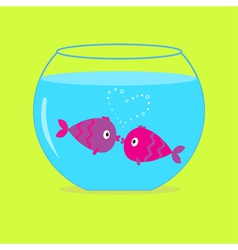 Two kissing fishes in aquarium card vector