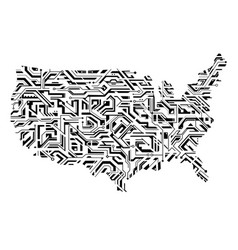 usa map as circuit board concept vector image