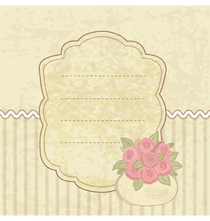 Vintage background with basket of flowers vector image vector image