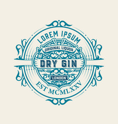 vintage label with gin liquor design vector image