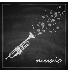 vintage with trumpet on blackboard background vector image