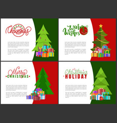 warm wishes on christmas holidays greeting cards vector image