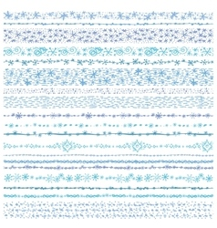 Winter snow seamless line borders setChristmas vector image
