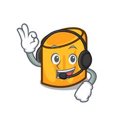 With headphone rigatoni mascot cartoon style vector