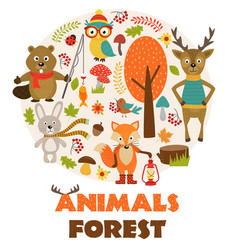 animals of forest part 2 vector image vector image
