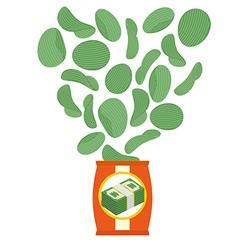 Chips taste of money Appetizer for rich Money food vector image vector image