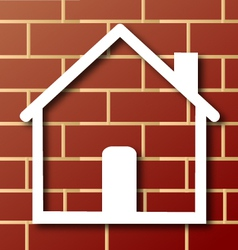 House icon with brick wall vector image