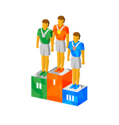 isometric champions on pedestal with medals vector image