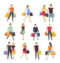 people shopping with shop bags cartoon flat vector image vector image