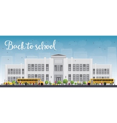 school and bus vector image