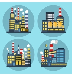 Set of industrial landscape icons with factory vector image