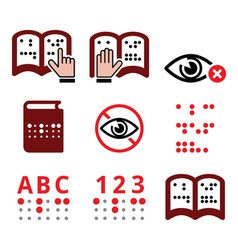 Blind people Braille writing system icon set vector image vector image