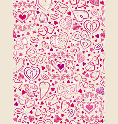 color patterned background with red valentine vector image vector image