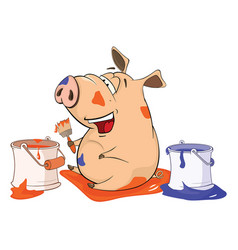 cute pig house painter cartoon vector image vector image