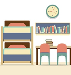Empty bunk bed with table and chairs vector