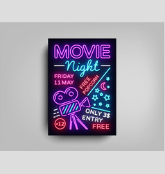 movie night poster design template in neon style vector image vector image