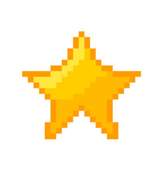 pixel star icon gold pixel star vector image vector image