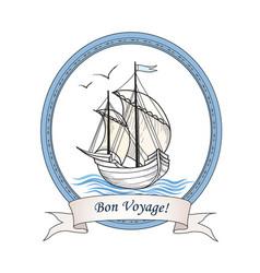 sailing ship summer holiday bon voyage card sail vector image vector image