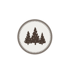 trees icon patch and sticker vintage hand drawn vector image