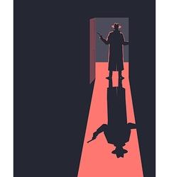 Armed man standing in the doorway vector image