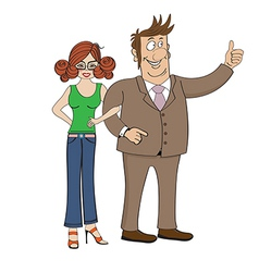 business couple isolated on white background vector image
